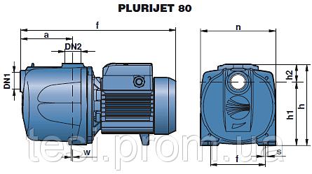 98162564 w640 h640 plurijet 80 rasmeru Насос, центробежный многоступенчатый , Pedrollo Plurijetm 3/80, 450 Вт, 4,8 м3/ч, 38 м